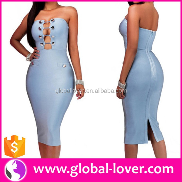 Chinese Wholesale Party Dresses Lady Blue Dresses Sexy Tube Dresses