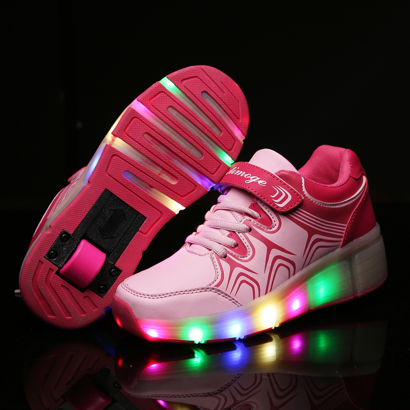 Child Heelys Girls Boys LED Light wheelys Children Roller Skate Shoes Kids shoes Sneakers With Wheel