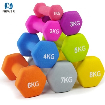 Wholesale colorful weight lifting custom gym neoprene dumbbell set