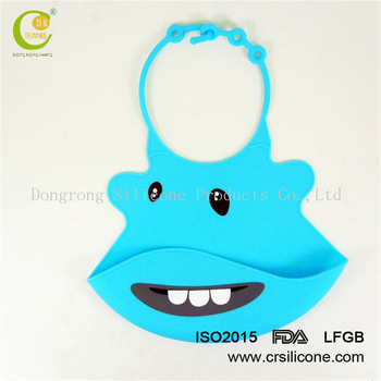 Waterproof Baby Bib FDA Approved Soft Silicone Washable with Food Catcher, Easy to Clean Cute & Funny Baby Bib