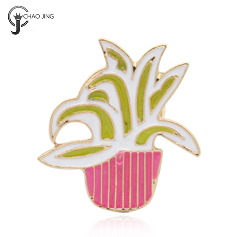 Factory Made Metal Crafts Clasp Lapel Potted Plant Metal Enamel Pin Badge