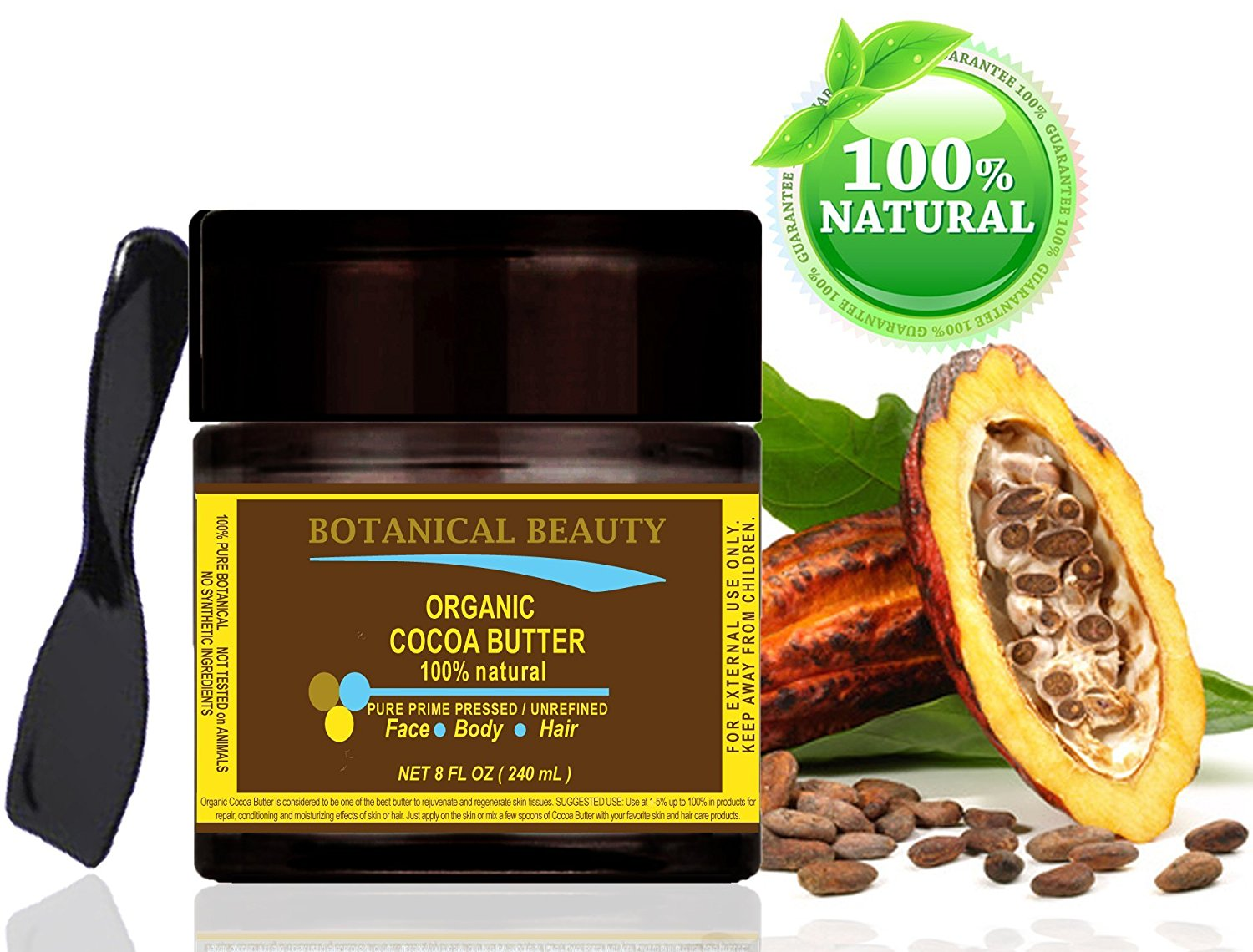 "ORGANIC COCOA BUTTER 100 % Natural / Pure Prime Pressed / Unrefined / Grade A / Certified Organic. 8 Fl.oz.- 240 ml. For Skin, Hair and Nail Care. ""Organic Cocoa Butter has the most remarkable cosmetic effect on the skin and hair."" Organic Cocoa Butter has a very pleasant chocolate aroma. by"