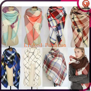 More than 40 design Hot Selling Cashmere Oversize Plaid Blanket Wrap shawl scarf Stock