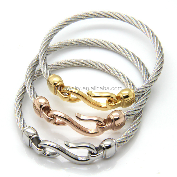 Latest Hook Bracelet Twisted Cable Wire Bangle Stainless Steel Fish ...