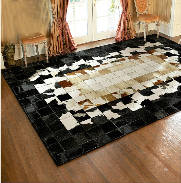 Luxury Leather Patchwork Rugs Sched