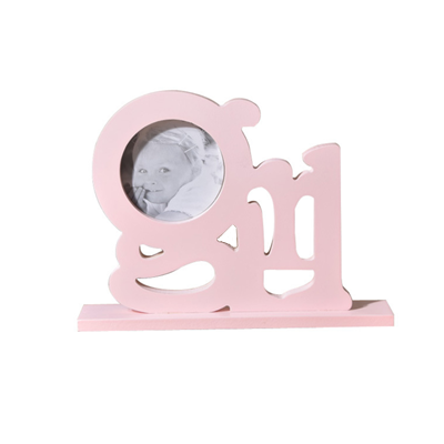 Pink Letter Girl wood picture baby photo frame