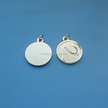 high quality custom logo embossed silver plated disc round metal hang tag
