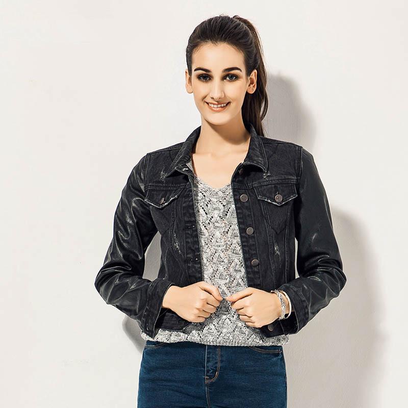 Womens Black Denim Jean Jacket Ye Jean