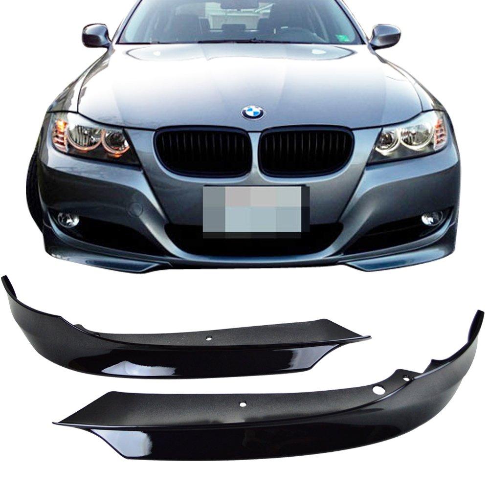 09-12 BMW E90 3-Series Front Bumper Lip Splitter 2PCS Painted Jet Black - PP