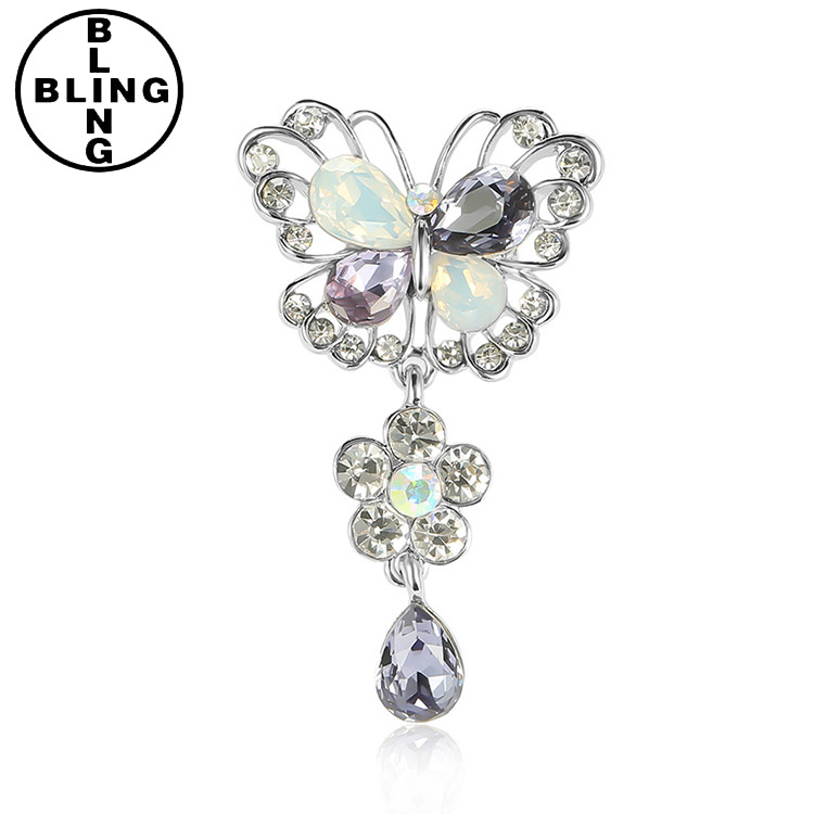 >>>Bling-Fashion,JW-BP011,Charm rhinestone brooches,crystal butterfly lapel pin for party.