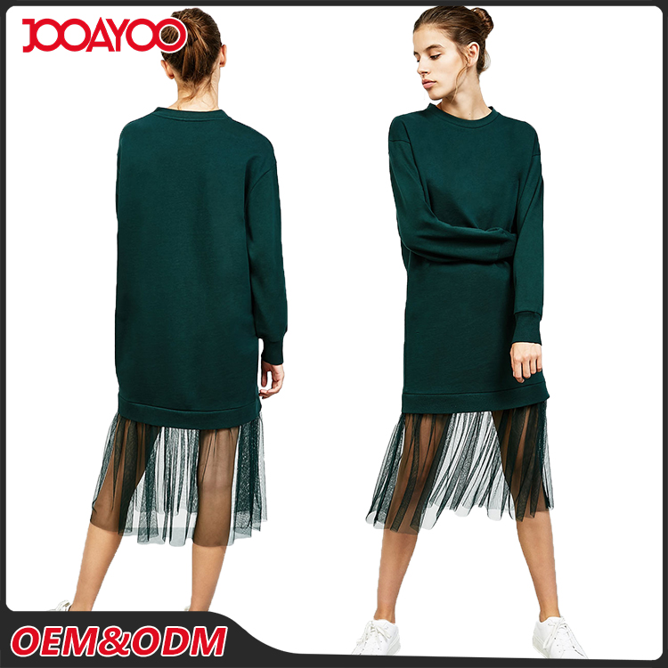 Wholesale Round Neck Long Sleeve Girls Midi Dresses Design Fashion Lady Dress With Chiffon