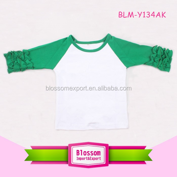 Fashion adult ruffle custom made Infant toddler Cotton Soft 3/4 green Sleeves white body Raglan baby kids t shirt for 0-10 y