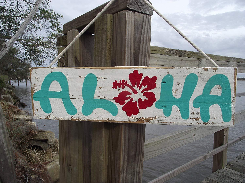 Aloha sign  Hawaiian sign  Aloha wall decor  hawaiian wall decor  wood pallet Hawaiian sign  hpainted Hawiian decor  rustic Aloha painted sign