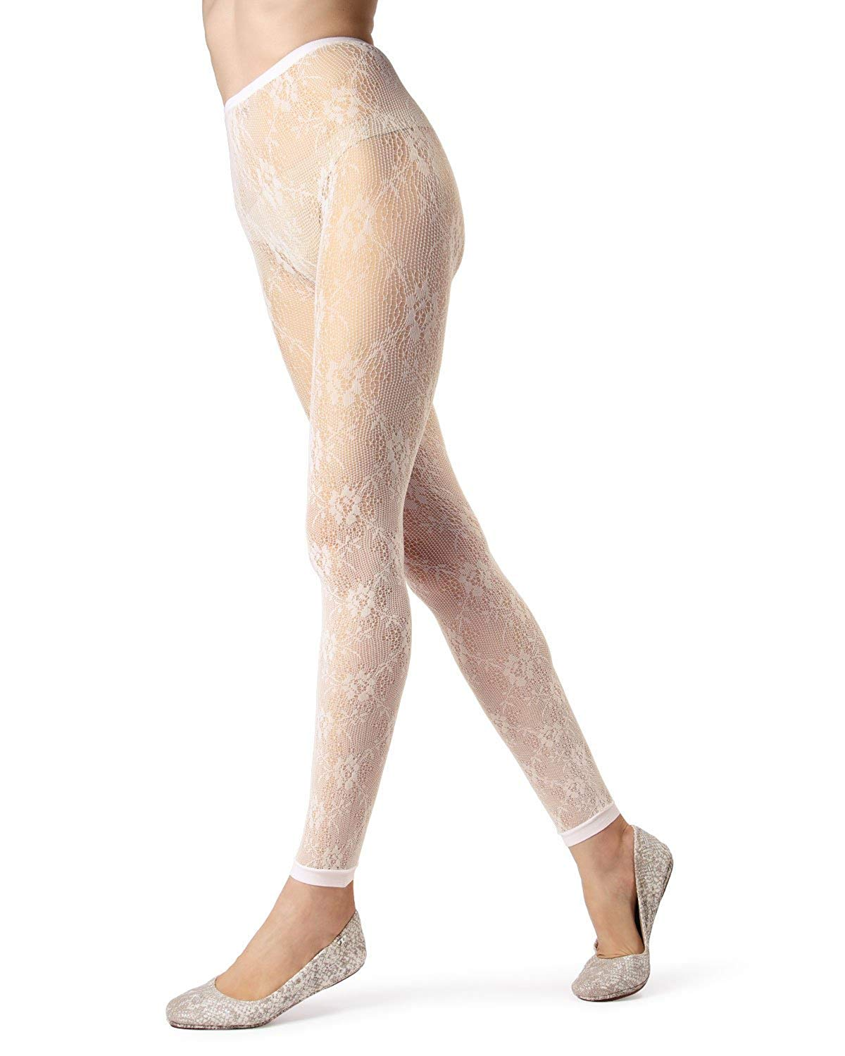 67cc8f417f4 Get Quotations · MeMoi Romantic Lace Footless Tights | MeMoi Tights -  Hosiery - Pantyhose