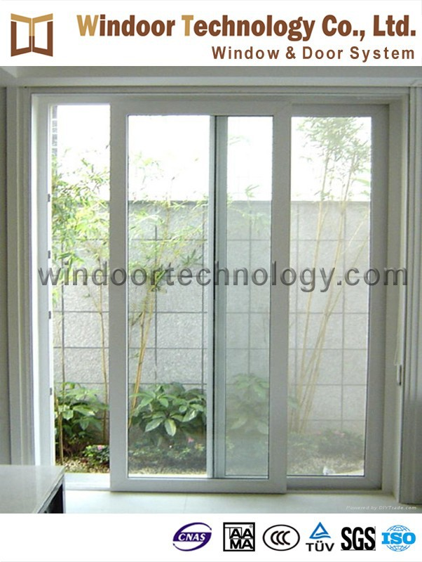 Economical type white PVC glass sliding door with cheap price