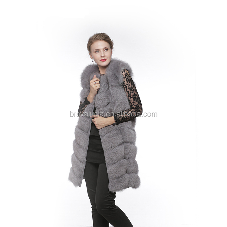 Women knitted fox fur vest gray fur vest high quality Chinese fur vest