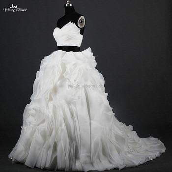 rsw1215 Último yiaibridal organza negro y blanco volantes falda