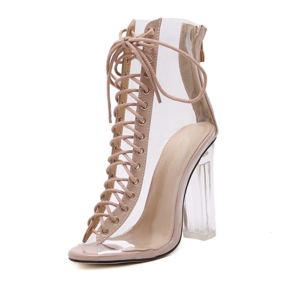 europe style fashion high hyaline heel personalized shoes lady sandals