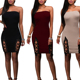 China Wholesale New Fashion Hot Women Slim Sexy Chest Wrapped Bodycon Dress With Tie In Two Sides