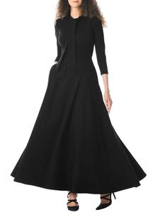 New design Elegant Hot sale women solid simple Tie Neck maxi dress long sleeve