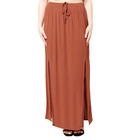 2019 New Lady's Plus Size Solid Color Elastic Waist Slit Maxi Long Skirt For Women
