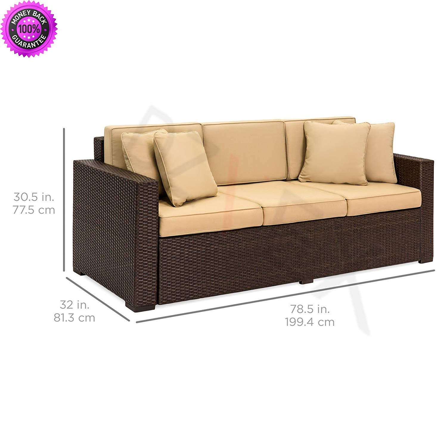 Get quotations · dzvex outdoor wicker patio furniture sofa 3 seater luxury comfort brown wicker couch and patio furniture