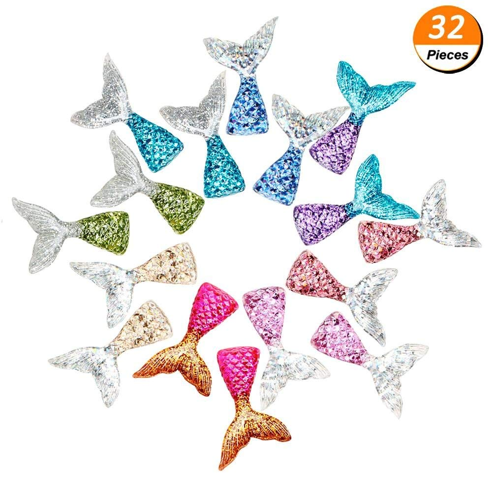 PartyYeah 32Pcs Mermaid Tail Slime Charms Resin Flatback, Mixed Color and Styles Multicolored Mermaid Tail Slime Beads for Ornament Scrapbook DIY Crafts