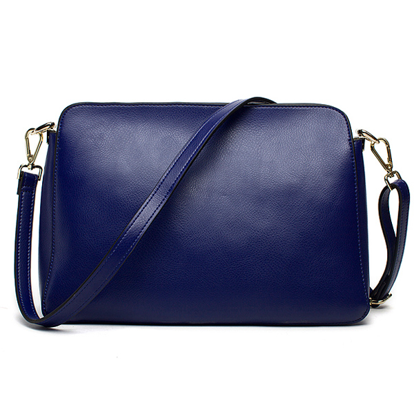 Navy Color Long Handle Leather Lady Shoulder Bags Handbags Fashion