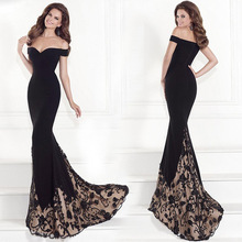 Women's Fashion Fish Tail Maxi Formal Party Prom Dresses Black Sexy Off Shoulder Long Tube Beading Evening Dress 2017 Guangzhou
