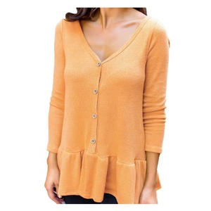 Hot-Selling Fashionable Women Button Down Ruffle Sweater