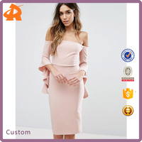 2017 Factory Cheap Price Off Shoulder Ladies Official Dresses High Quality Woman Clothing