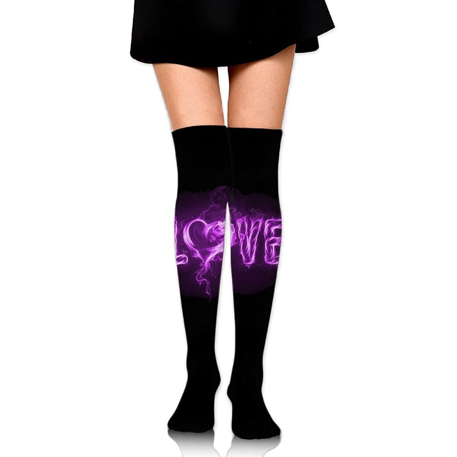 SOURCE POINT Womwn's Long Socks Love Printing Stocking Sexy Knee High Socks