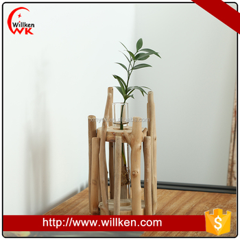 Wood Batten Flowerpot Holder Decoration Pieces Ornaments