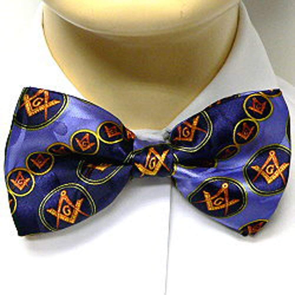 6ebd50e00a7c Get Quotations · Masonic Bow Tie Neckwear - Pre-tied Blue bow tie with  Masonry symbol in Gold