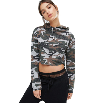 Hip hop clothing bulk hoodies for women camo french terry cropped top  hoodies 745b82651