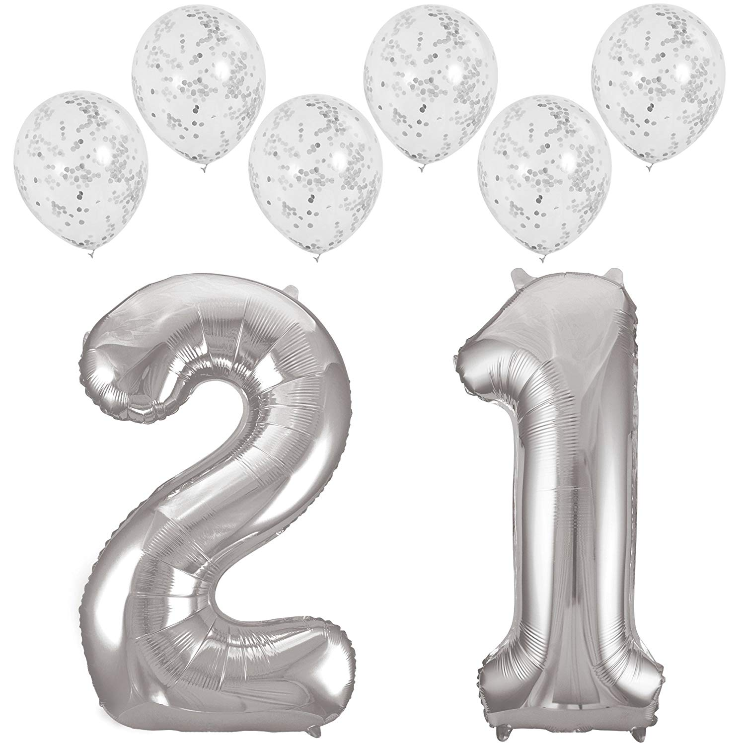 Get Quotations RhinestoneSash 34 Giant Silver 21 Foil Mylar Balloon Set Of 6 Matte