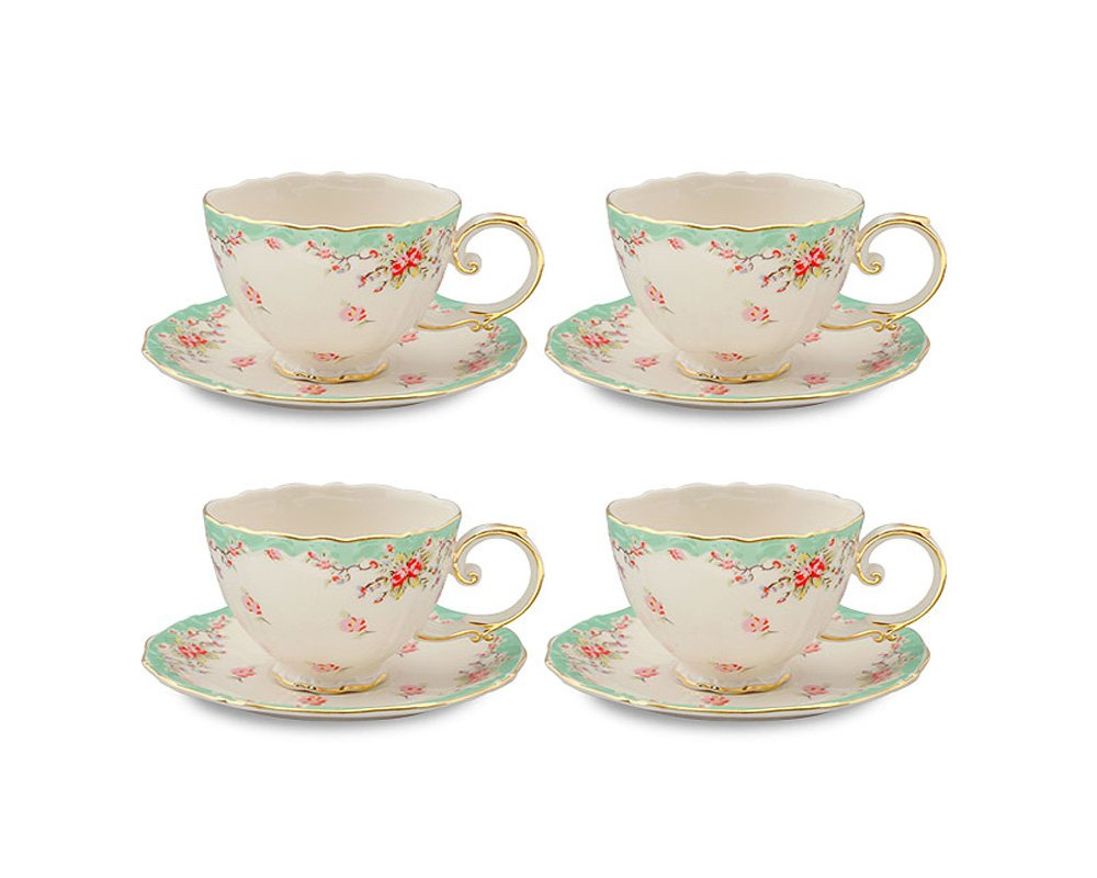Gracie China Vintage Green Rose Porcelain 7-Ounce Tea Cup and Saucer with Gold Trim, Set of 4