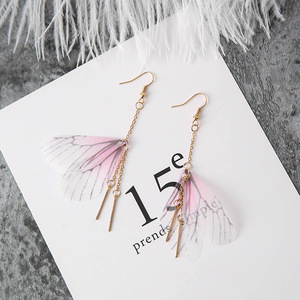Vintage Unique Butterfly Wings Earrings Fresh Metal Wire Lines Tassel Hook Earrings
