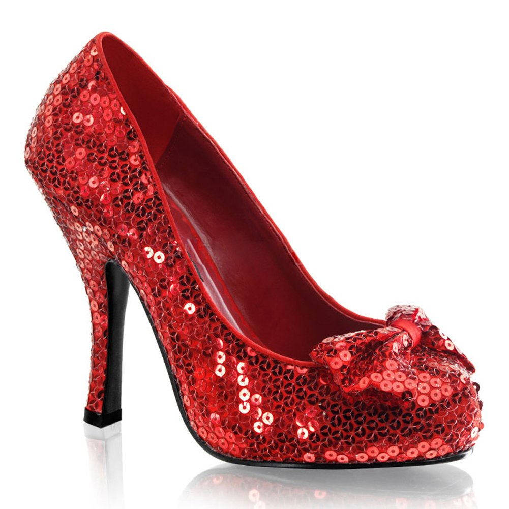 02ca90a5e6b4 Get Quotations · Womens Red Sequin Pumps Movie Costume 4 1 2 Inch Heel  Closed Toe Sparkle Bow