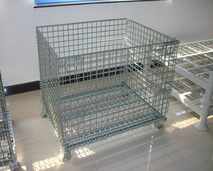 alibaba metal wire mesh container storage cage with wheels used mesh box wire cage - Metal Storage Containers