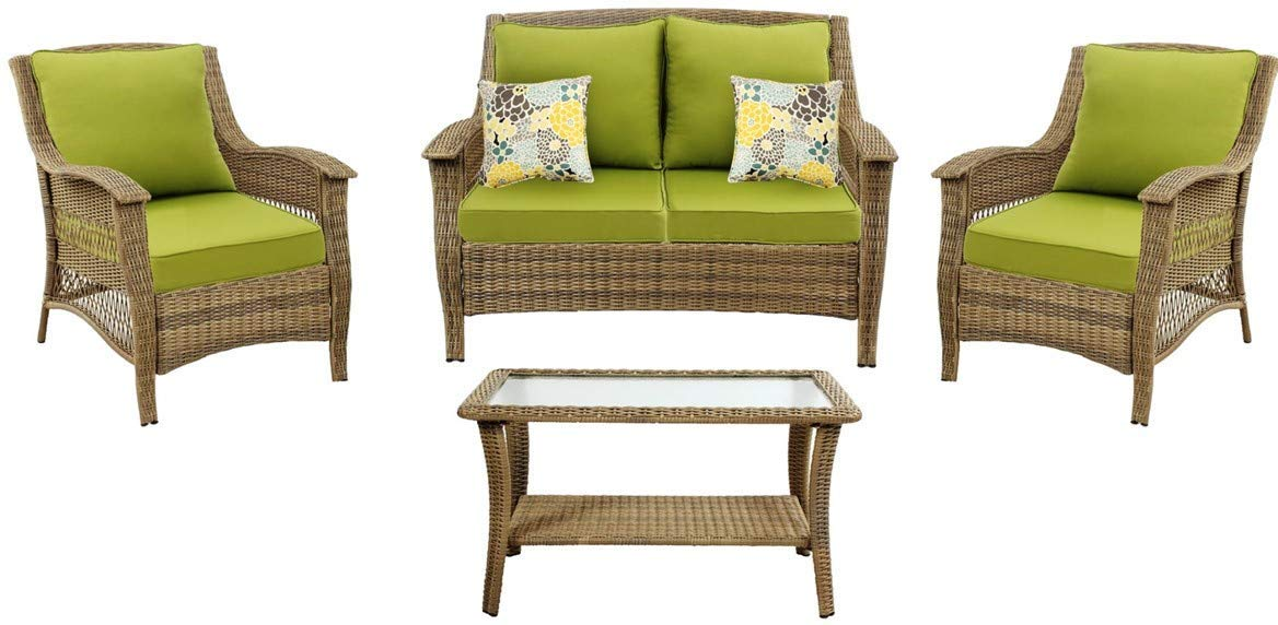 Quality Outdoor Living 65-514297 Greenport All-Weather Resin Wicker 4 Piece Deep Seating Set with Cushions Outdoor, Brown