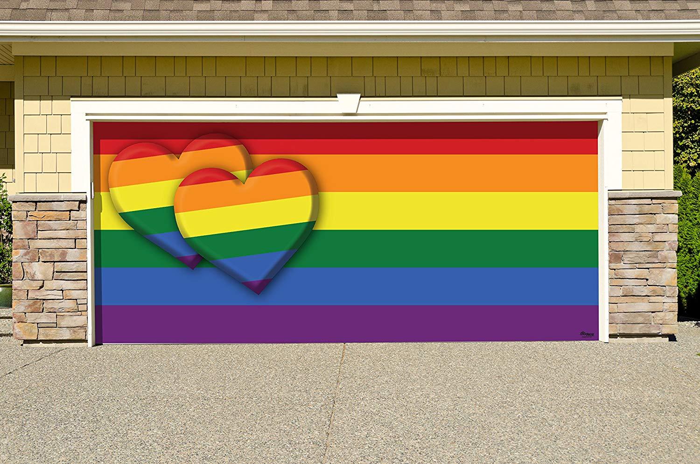 Victory Corps Pride Double Heart - Outdoor PRIDE LGBT Garage Door Banner Mural Sign Décor 7'x 16' Car Garage -The Original Holiday Garage Door Banner Decor