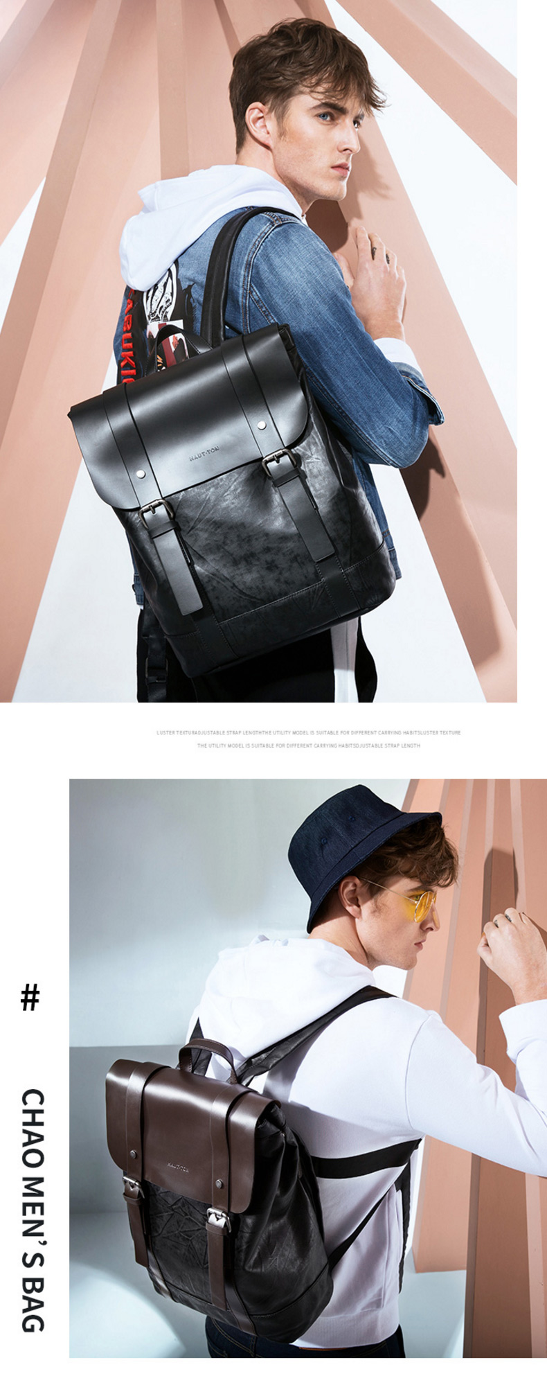 New Fashion Europe style capacity genuine leather men school backpack bag