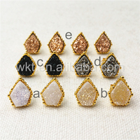 WT-E289 Unique Design Druzy Agate Earrings Gold Jewelry for Women,Fashion Druzy agate earrings women gift with 24k gold plated
