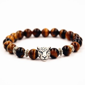 Free Shipping Antique Silver Leopard Head Tiger Eye Stone Beaded Charm Bracelet