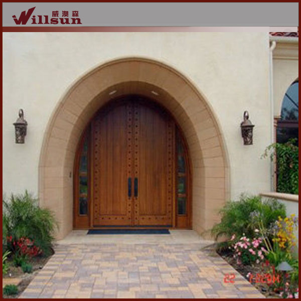 De madera maciza puerta de arco de hierro forjado de for Arcos de madera para puertas