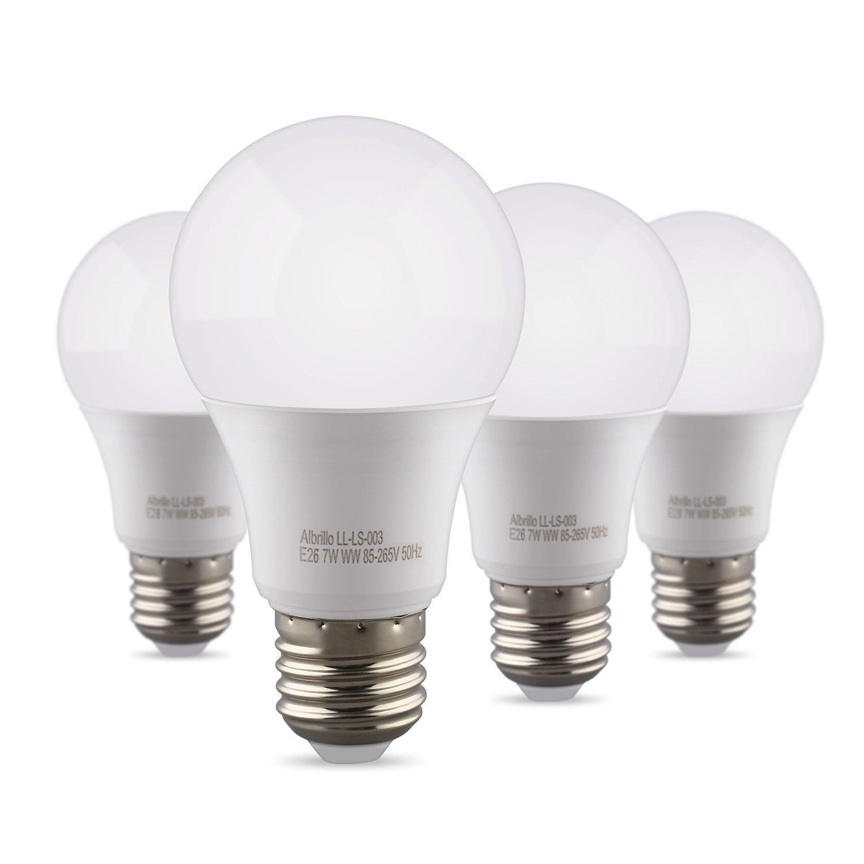 Albrillo A19 Light Bulb E26 LED Bulb 9W, 60 Watt Light Bulbs Equivalent 800 Lumen, Soft White Medium Base Bulb Smart Home Lighting No-Dimmable, 4 Pack