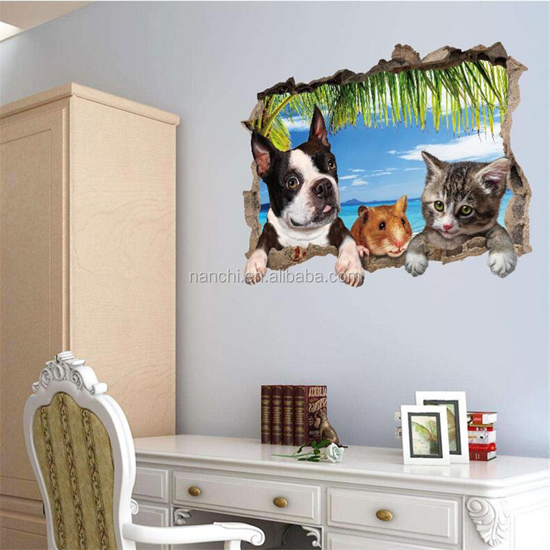 creative 3D animals dog broken wall scenery stickers bed entrance sofa TV background decorative wall stickers