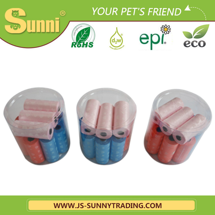 biodegradable dog waste bag with transparent bone box packaging