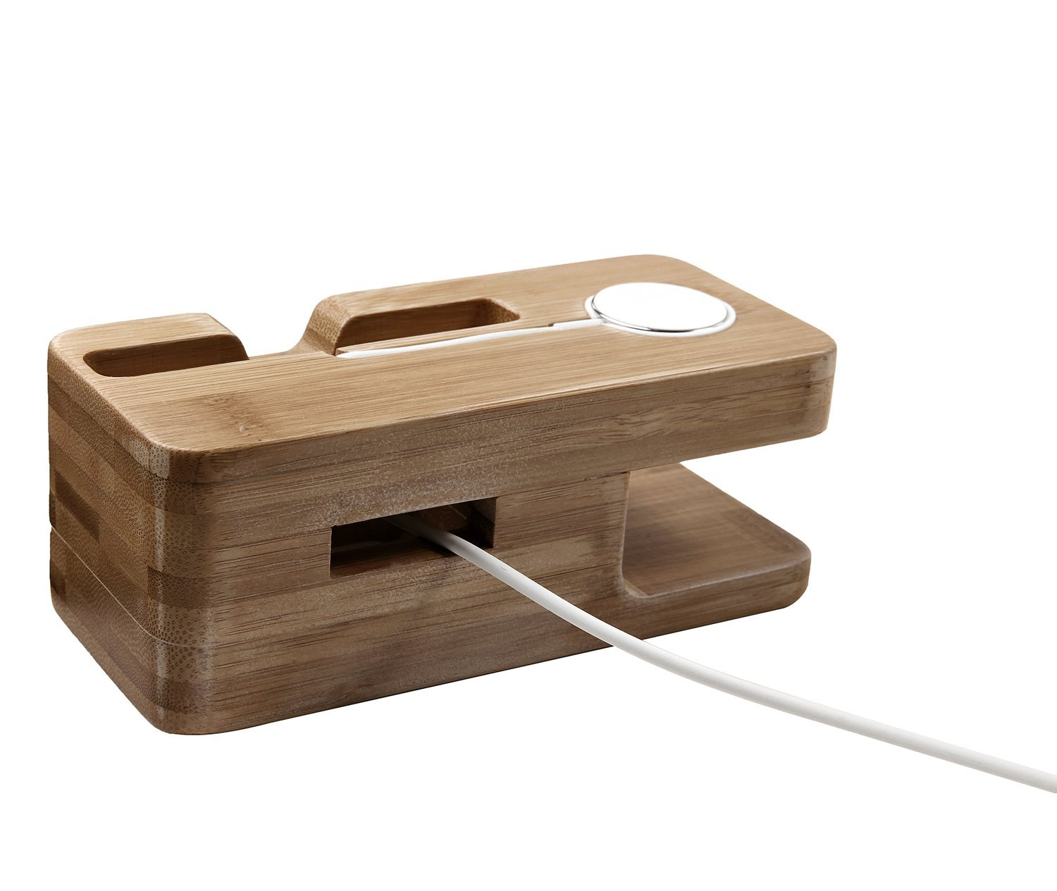 Apple Watch Stand / dock, KuGi High quality Bamboo Wood Charging Stand / holder Bracket Docking Station Stock Cradle Holder For Apple watch 38mm, 42mm and iphone 4 / 5 / 5S / 6 / 7 / 6S / Plus / 5C / 6C. (Stand)